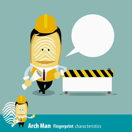 characteristics: Fingerprint Man Characteristics Series. Engineers with under construction. cartoon character eps 10 vector illustration Illustration