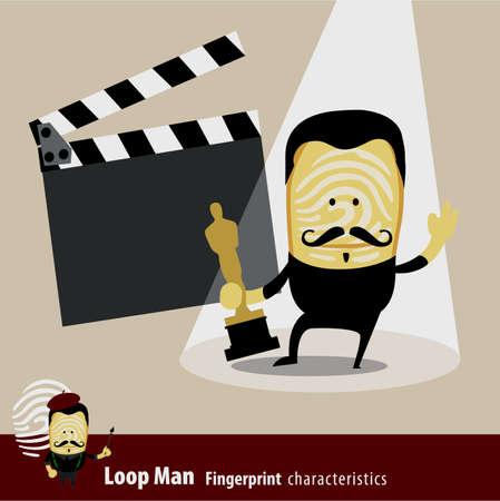 clapper board: Vector of Fingerprint Man Characteristics Series. Actor. Illustration