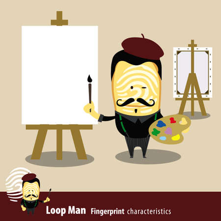 characteristics: Fingerprint Man Characteristics Series. Artist Painter Holding A Brush And Palette. Illustration