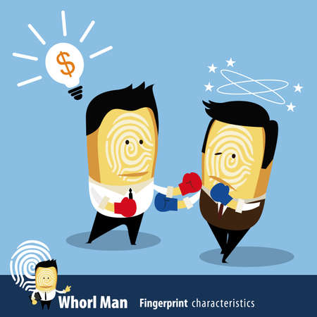Vector of Fingerprint Man Characteristics Series. Two Business Man in boxing match. Vector