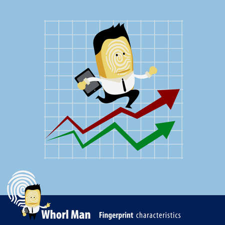 characteristics: Vector of Fingerprint Man Characteristics Series. A businessman running up rising financial chart about to reach his profit goal.