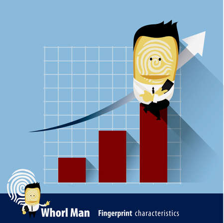 characteristics: Vector of Fingerprint Man Characteristics Series. Business Man sits on financial graph Illustration
