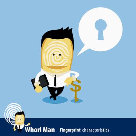 characteristics: Vector of Fingerprint Man Characteristics Series. Business Man & key