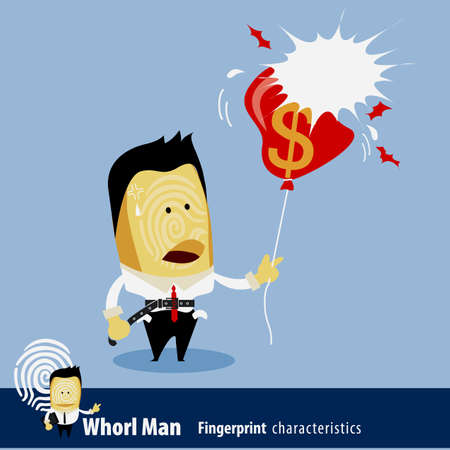 characteristics: Vector of Fingerprint Man Characteristics Series. Business Man with balloon