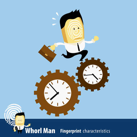 characteristics: Vector of Fingerprint Man Characteristics Series. Business Man running against the time Illustration