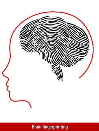 odcisk kciuka: Wektor Brain odcisków palców