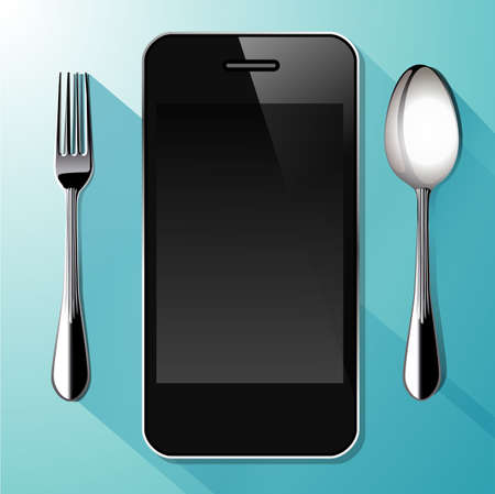 blue white kitchen: Vector of  Smartphone  with spoon and fork