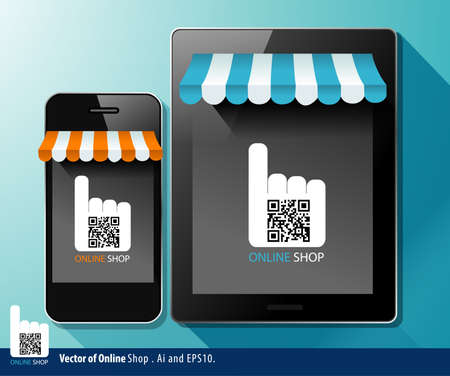 Vector of Online shop White QR code on tablet and smart phone Vector