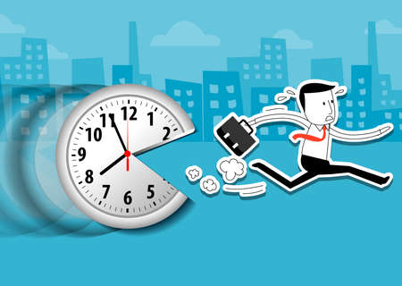 time: Vector of large wall clock and running businessman