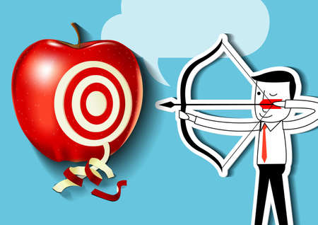 longbow: Vector of businessman as an archer is aiming at a red apple target