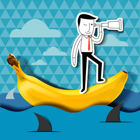 flying boat: Businessman holding and looking through telescope, thinking on the banana boat , surround with shark. Business concept on vision in dangerous situation.