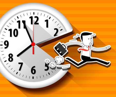 Vector of large wall clock and running businessman