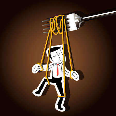 puppeteer: Vector of Businessman marionette on noodle controlled by fork. business control concept.