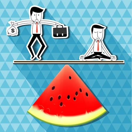 Vector van zakenman die geld dollarteken en tas werk balacncing met zakenman doet yoga op watermeloen schalen evenwicht. idee balans van uw gezond leven business concept Vector Illustratie