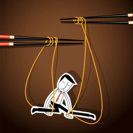 controlled: Vector of Businessman marionette on noodle controlled by chopsticks. business control concept.