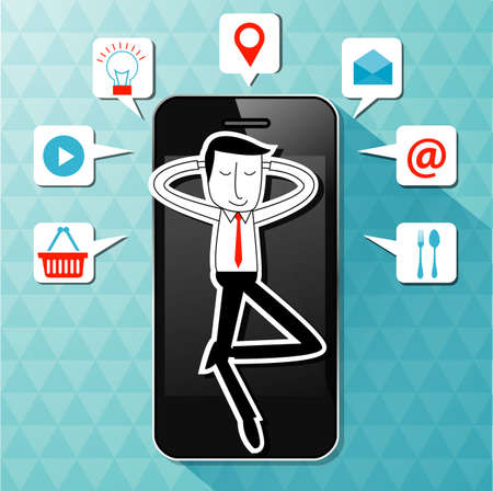lie: Vector of businessman lie on smartphone with application icon. Make your life easier concept.