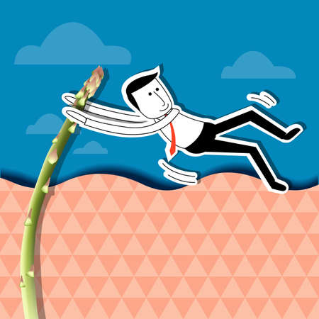 pole vault: Businessman is jumping with asparagus pole vault. Health workers concept.