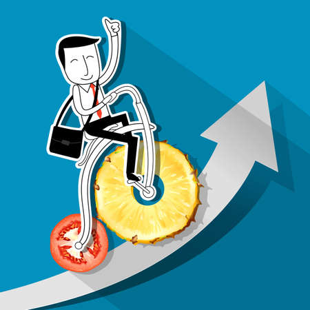 environmental suit: Vector of Businessman riding a retro bictcle fruit and vegetable wheel. Clean Eating concept Illustration