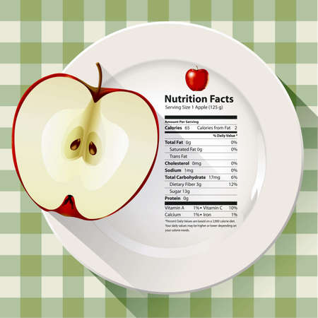 granny smith apple: Vector of Nutrition facts apple