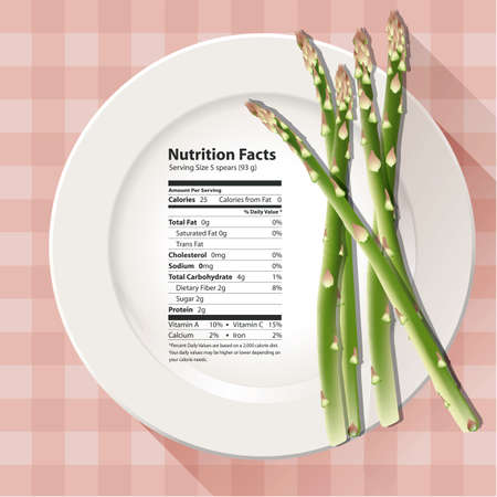 facts: Vector of Nutrition facts asparagus Illustration