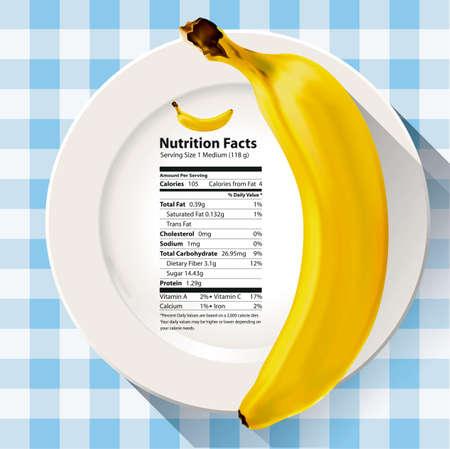 영양 사실 바나나의 벡터
