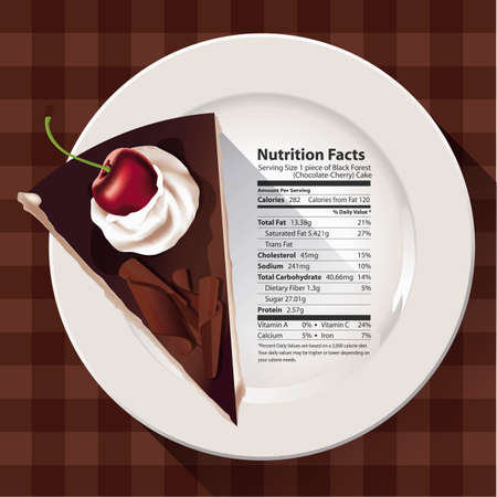 nutritious: Vector of Nutrition facts of chocolate cake with cherry