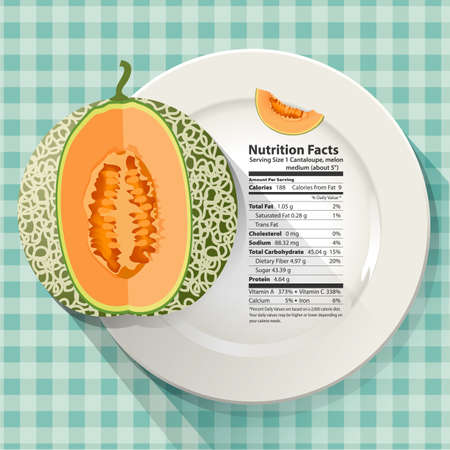 facts: Vector of Nutrition facts in cantaloupe on white plate Illustration