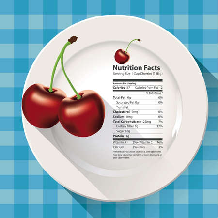 facts: Vector of Nutrition facts cherries