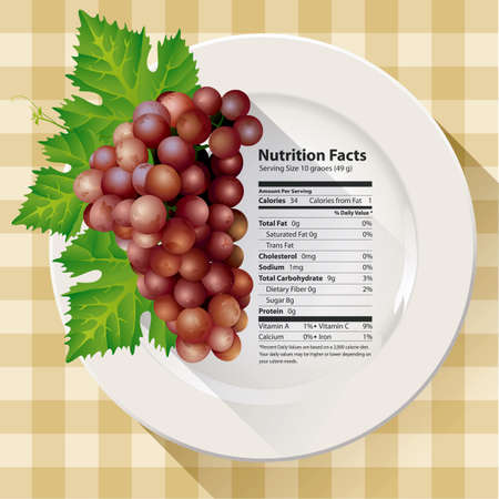 granny smith apple: Vector of Nutrition facts red grapes