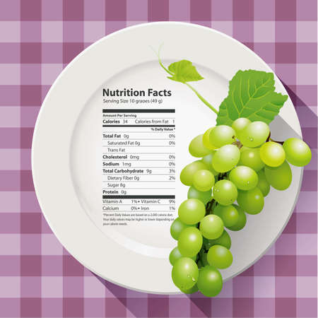 granny smith apple: Vector of Nutrition facts green grapes Illustration