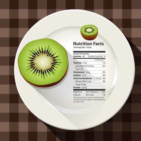 Vector of nutrition facts Kiwi Ilustração
