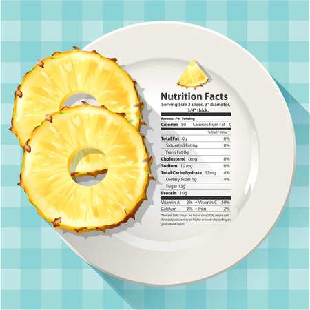 하얀 접시에 파인애플의 영양 성분의 벡터 일러스트