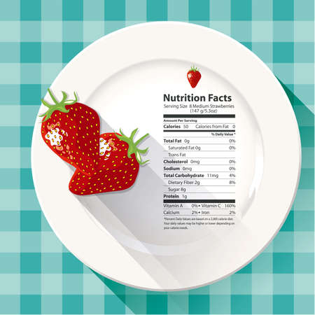 Vector of Nutrition facts strawberries 일러스트
