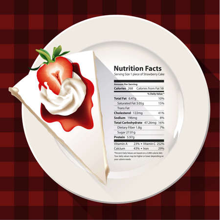 facts: Vector of Nutrition facts of Strawberry cake