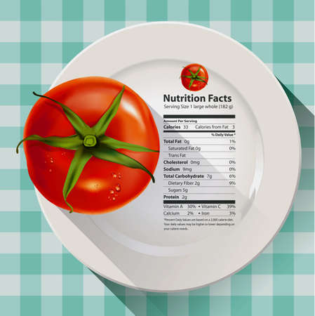 facts: Vector of nutrition facts tomato