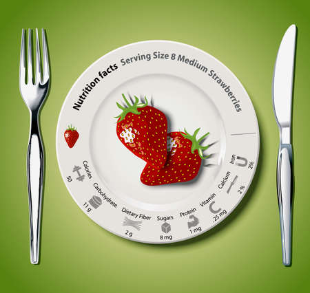 granny smith apple: Vector of Nutrition facts Strawberries Illustration