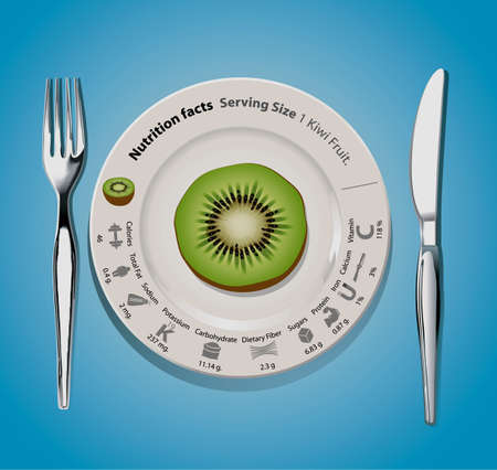 facts: Vector of nutrition facts 1 Kiwi fruit Illustration