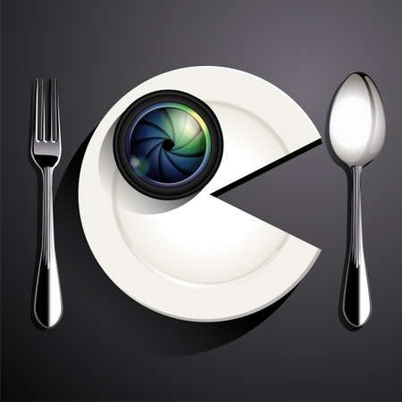 plate camera: Vector of Camera lens on white plate in eating shape. Food Photography concept. Illustration