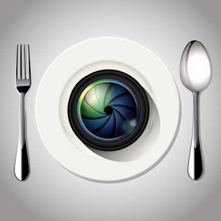 plate camera: Vector of Camera lens on white plate. Food Photography concept. Illustration