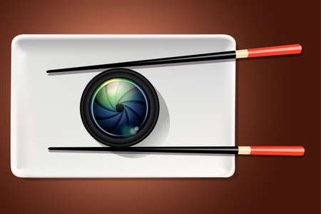 food photography: Vector of camera lens on white plate with chopstick. Food Photography concept.
