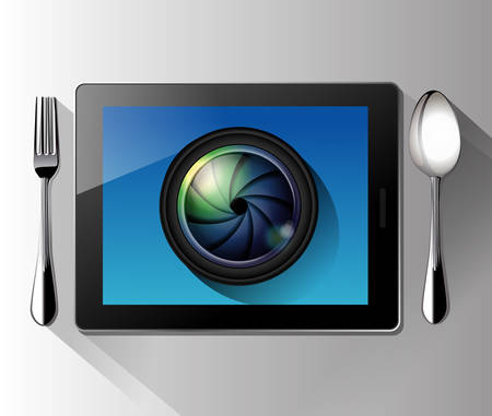 food photography: Vector of Camera lens on tablet. Food Photography concept. Illustration
