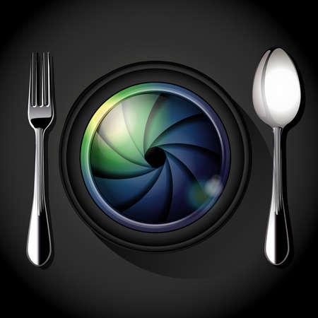 food photography: Vector of Camera lens with fork and spoon, table setting. Food Photography concept.