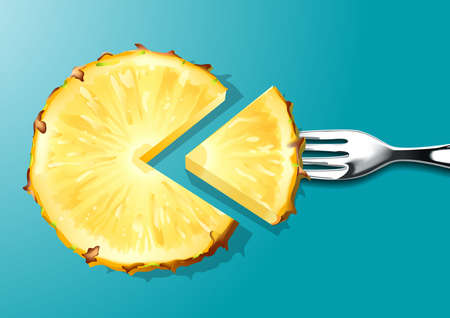 fleshy: Vector of Pineapple slices with silver fork on blue background