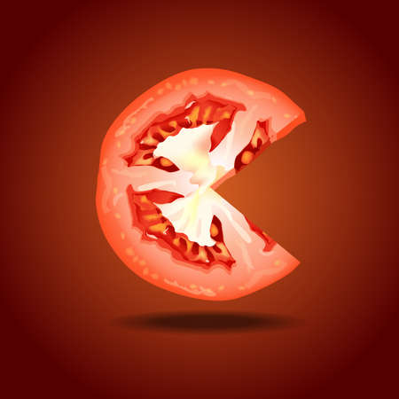 tomato slice: Vector of tomato slice on red background