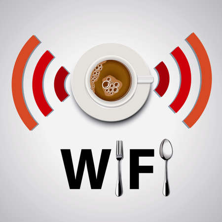 free plate: Coffee Free WiFi. Vector. Illustration.