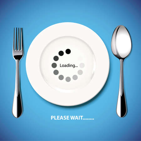 Food are late. Please wait. Vector. Illustration. Vector