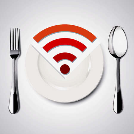 wi fi icon: Restaurant Free WiFi. Vector. Illustration.