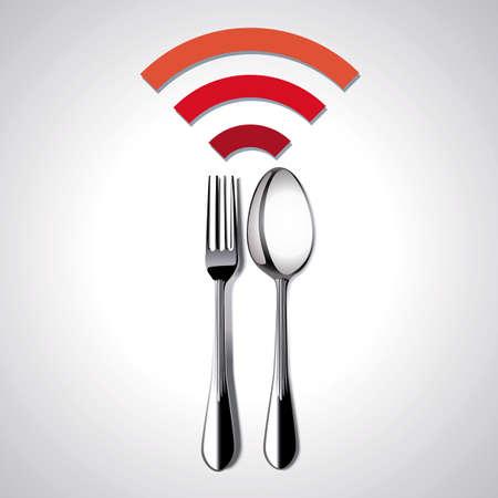 wifi sign: Restaurant Free Wi-Fi. Vector, Illustration