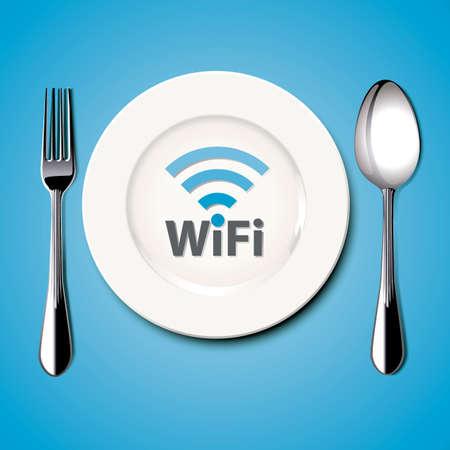 free plate: Restaurant Free Wi-Fi. Vector. Illustration.