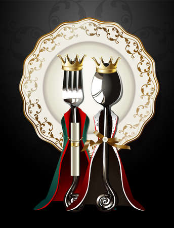 nobleman: Vector of Spoon and Fork in King and Queen Cloth on Luxury Plate Illustration